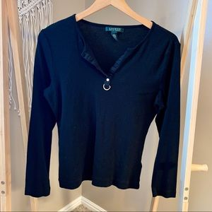 Ralph Lauren long sleeved black shirt